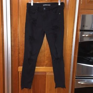 Express Distressed black skinny jeans